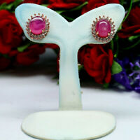 NATURAL 7 X 9 mm. OVAL CABOCHON RED RUBY & WHITE CZ EARRINGS 925 STERLING SILVER