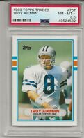 1989 TOPPS TRADED #70T TROY AIKMAN. ROOKIE, PSA 8.5 NM-MT+, HOF, COWBOYS,  L@@K