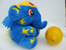 """Neopets ~ Starry Elephant Blue/ Yellow Plush Staffed Toy 5"""" ~ Excellent"""