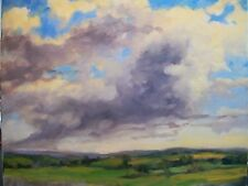 Oklahoma Billowing Osage Prairie Clouds 16x20 landscape oil painting M. Aycock