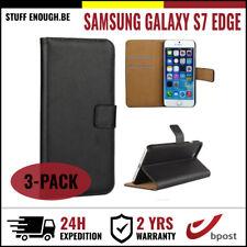 3IN1 Wallet Case Cover Cas Coque Etui Hoesje Black For Samsung Galaxy S7 Edge