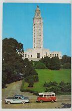 Louisiana State Capitol Baton Rouge La. Cool Bus and 1950s Car Postcard N2