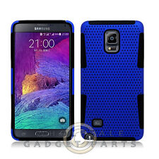 Samsung Galaxy Note 4 Hybrid Mesh Case Blue/Black Cover Shell Protector Guard