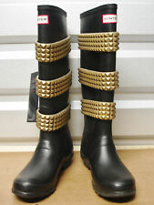 Hunter Limited Stud Buckle Festival Black Rubber Boots US7 EU38 New Gummistiefel