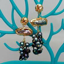 Freshwater Cultured Black Biwa Pearl Keshi Pearl Dangle Stud Earrings