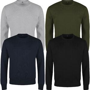 New Mens Jumper Crew Neck Pull Over Fleece Work Jersey Sweater Top Sweatshirt