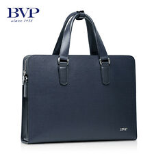 "BVP Men Tote Bags Real Leather Briefcase 14"" Laptop Case Business Messenger Bag"