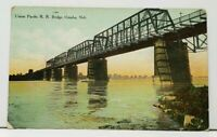 Omaha Nebraska Union Pacific RR Bridge 1910 to Forest  Park Illinois Postcard I5