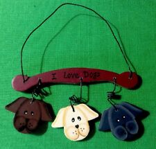 I Love Dogs Hand Painted Wooden & Wire Christmas Ornament Labs?