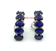 Natural Blue Sapphire  Gemstones With 925 Sterling Silver Earrings