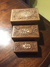 A Set Of 3 Graduated Hand Carved Indian Boxes With Inlay To Lids
