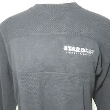 Vtg Stardust Resort & Casino XL Closed Black Embroidered Sweater Waffle Weave