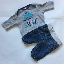 Newborn Baby Boys F&F Grey Long Sleeve T-shirt Top And Blue Jeans Bottoms Outfit