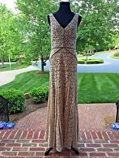 VERA WANG Gray and Beige Lace Overlay Gown  Size 6  $429 NWT #1H01K11