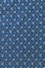 "Vintage Upholstery Tapestry Fabric Cotton Blue Retro 2 Yards x 54"" + Scrap"