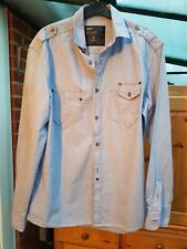 Men's Next Blue Striped Casual Shirt, Slimmer Fit, Size M, 100% Cotton, VGC