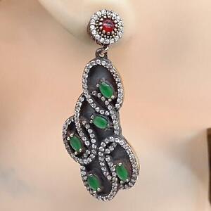 Deco 4.00ct Emerald, Ruby & Diamond Cut Sapphite 14K Yellow Gold Silver Earrings
