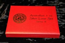 AUSTRALIA 1 OZ SILVER LUNAR SERIES II RED 12-COIN PRESENTATION BOX for 2008-2019