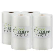 4 FoodVacBags 4mil 6x50 Rolls for FoodSaver Vacuum Food Storage Bags Embossed