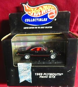 1969 PLYMOUTH GTX,  1/64 HOT WHEELS COLLECTIBLES,OPENING FEATURES, RUBBER TIRES