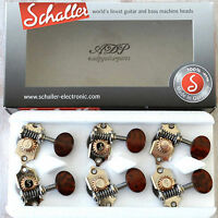 SCHALLER TUNERS GRAND TUNE 3L+3R Style WAVERLY 1:18 SNAKEWOOD KNOB NICKEL Export