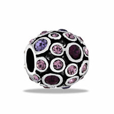 Davinci Beads Charm - PURPLE CZ Antiqued Globe - Buy 2 or More DaVinci and Save!