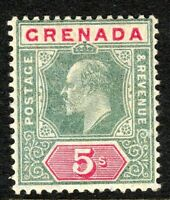 Grenada 1904 green/carmine 5/- multi-crown CA perf 14 mint SG75