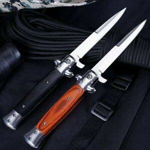 """9"""" Spring Assisted Folding Knife Stiletto Milano Tactical Wood Pocket Blade Open"""