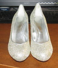 Womens Shoes Aldo High Heels Pump Gold Silver Glitter Pattern Size 39 EU NWOB