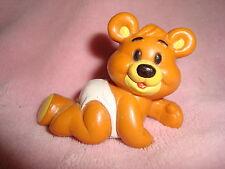 "Shoppers Drug Mart Teddy Bear in Diaper 1987 PVC Figure 1.75"" tall x 2.5"" long"