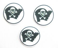 12 PRE CUT EDIBLE RICE WAFER PAPER CARD PIRATE JOLLY ROGER CUPCAKE TOPPERS