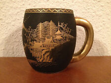 Antique Early 20th Cent Japanese Signed Satsuma Ceramic Cup / Mug Landscape Dec.
