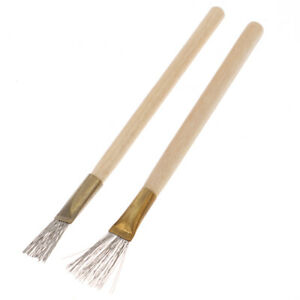 2Pcs Wooden Handle Thick/Thin Iron Wire Brush Clay Tool for Making Clay Mo^lk