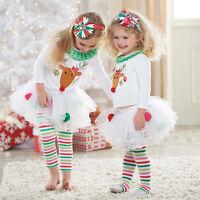 Cute Toddler Kids Baby Girl Outfit T-shirt Top+Tutu Dress Pants Clothes XMAS Set