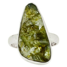 Green Tourmaline In Quartz 925 Sterling Silver Ring Jewelry s.8 29098R