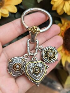 Brighton Silver Gold Triple Three Charm Hexagon Circle Heart Dangle Keychain