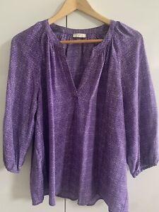 JOIE Women's Purple Silk Blouse Medium Like New