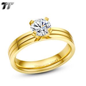 TT 1 Carat CZ 14K Gold GP Stainless Steel Wedding Band Comfort fit Ring (R293)