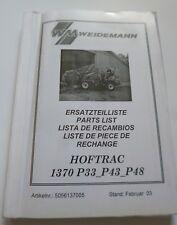Weidemann Hoflader 1370 (P33 P43 P48) Ersatzteilliste