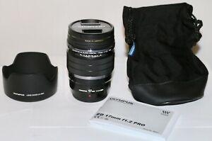 Olympus M. Zuiko Digital ED 17mm F/1.2 Pro  Micro 4/3 Mount Lens MINT + Hood