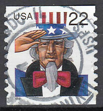 USA perfekt gestempelt 22c Uncle Sam Jahrgang 1998 Hut Person Rundstempel / 6481
