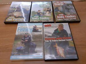 ON THE BANK & CARP FISHING DVD's x 5 (FREE POSTAGE)