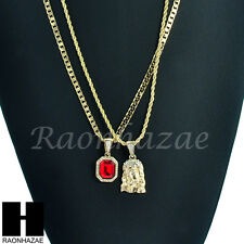 HIP HOP MINI RICH GANG RED RUBY & JESUS FACE ROPE CUBAN CHAIN NECKLACE SET KN001