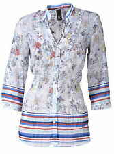 Geblümte Damenblusen, - tops & -shirts mit V-Ausschnitt aus Baumwolle im Blusen