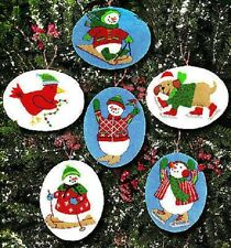Embroidery Ornament Felt Kit WINTER GAMES Ornaments Snowman Snowmen  SPECIAL!