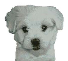 "Maltese Terrier Puppy Dog Counted Cross Stitch Kit 11"" x 10"""