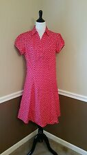 Petalo Hepcat Soda Fountain Dress Red~White Dots M (Fits S) Modcloth Rockabilly