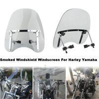 Large Smoked Motorcycle Windshield Windscreen Universal For Harley Yamaha