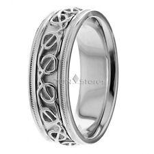 Celtic Knot 14K Gold Wedding Bands Rings 8mm Mens Women Celtic Wedding Band Ring
