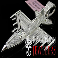 Mens White Gold On Sterling Silver Lab Diamond Jet Airplane Pendant Pave Charm